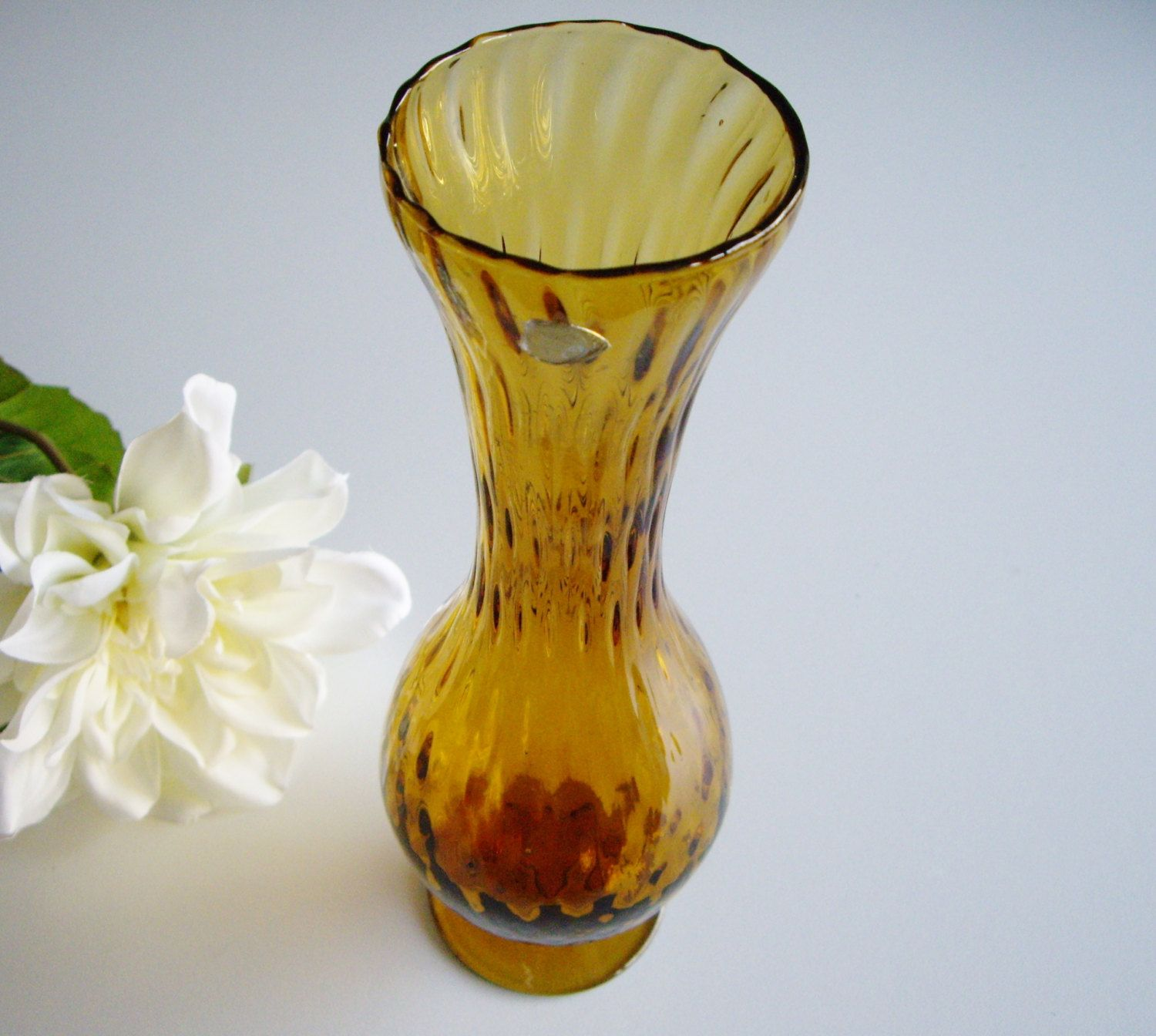 Vintage Signed Amber Glass Bud Vase Made In Italy Optic Bulbous Yellow Signed Label Italian Footed Gift Under 25 Mid Cen Bud Vases Amber Glass Vase