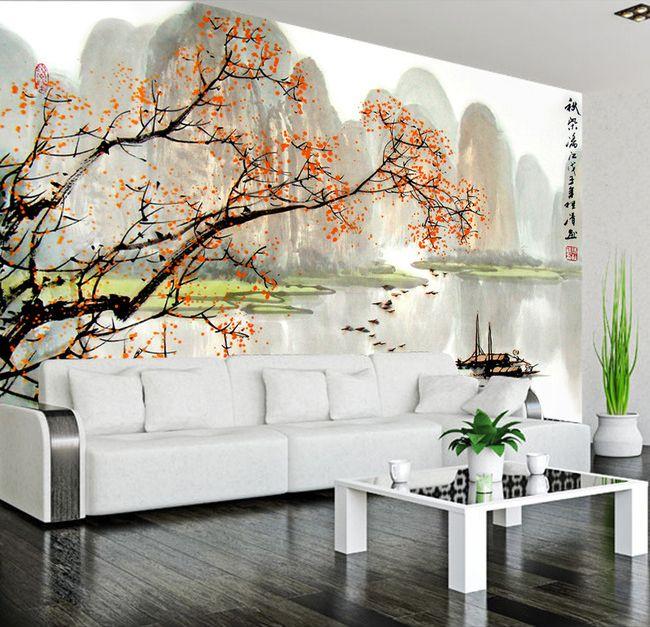 papier peint paysage asiatique les petits bateaux sur la rivi re en automne papier peint. Black Bedroom Furniture Sets. Home Design Ideas