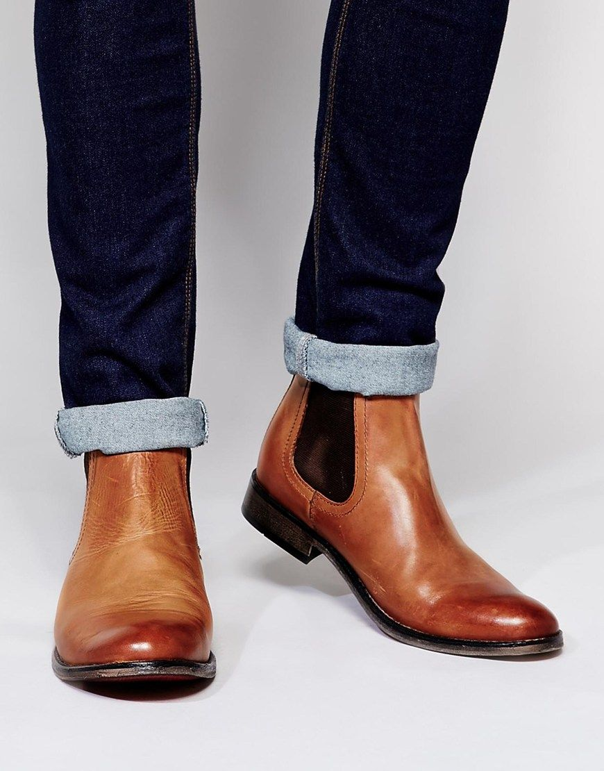 ASOS Chelsea Boots in Tan Leather With Round Toe