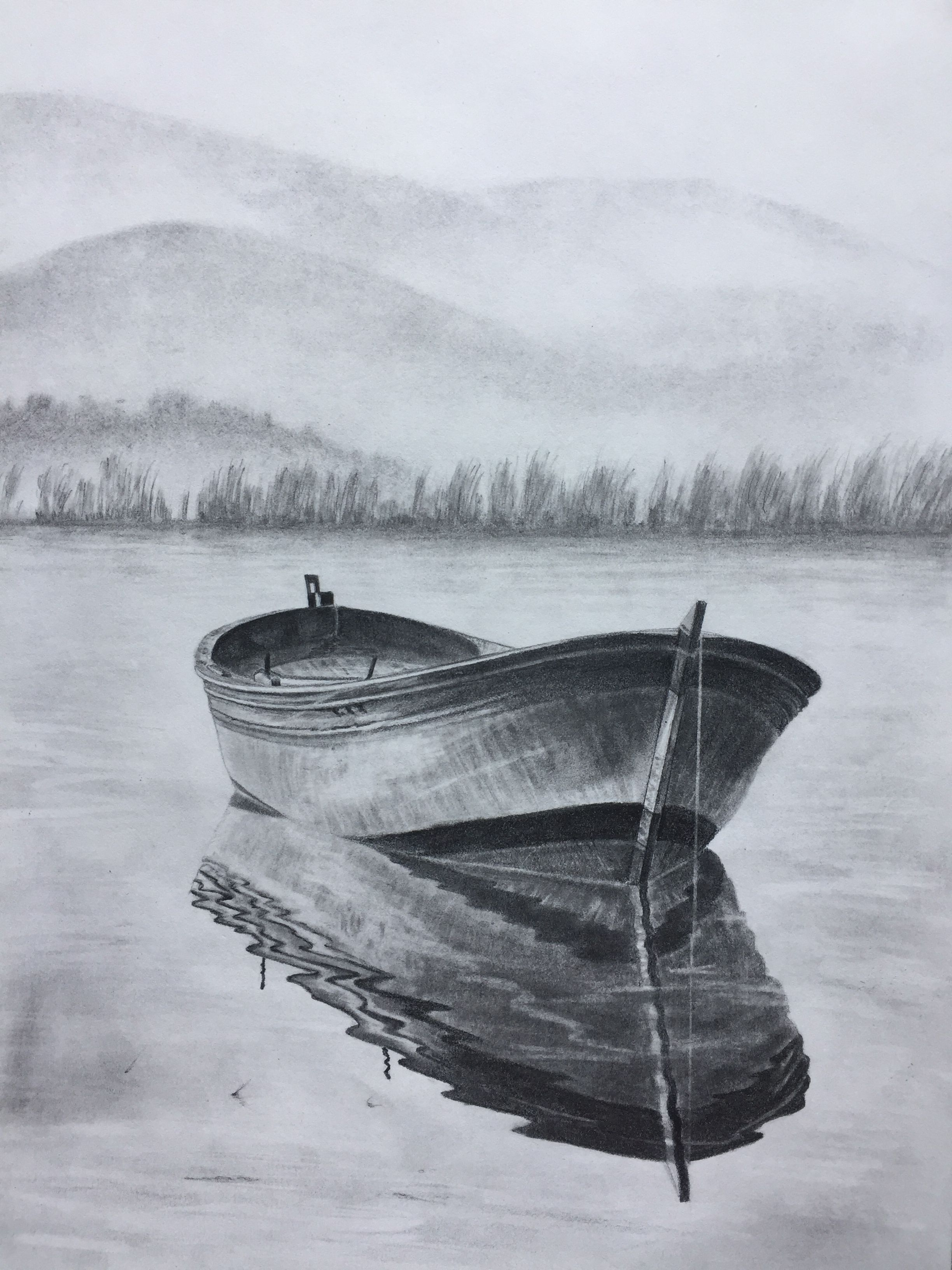 100 Row Boat Sketch Original Art Pencil Drawing By Elena Whitman Love Rippled Reflection On Pencil Sketches Landscape Landscape Pencil Drawings Boat Sketch