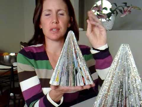 Recycled Christmas Tree Crafts How To Make A Tree With Magazines Christmas Tree Crafts Recycled Christmas Tree Diy Christmas Tree