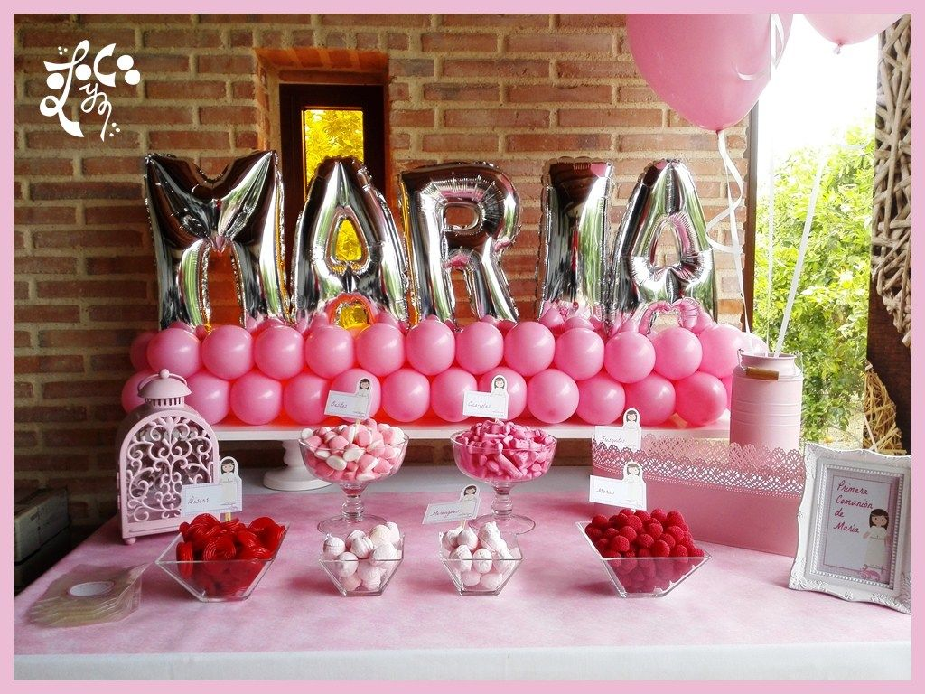 Mesa dulce rosa nombre de globos churri nombre comunion for Mesas dulces comunion nina