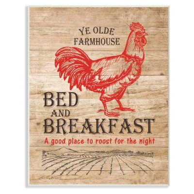 Stupell Decor Bed And Breakfast Red Rooster Vintage Sign Wall Plaque Art - KWP-1029_WD_10X15