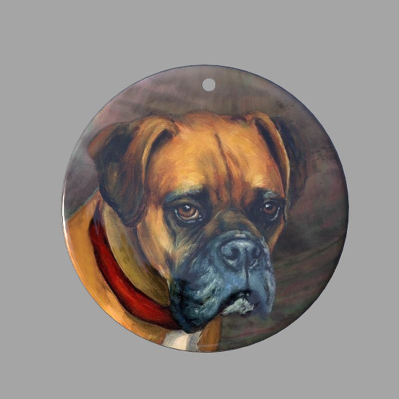 HAND PAINTED BOXERS DOG NATURAL MOTHER OF PEARL SHELL DIY PENDANT ZP30 00766 #ZL #PENDANT