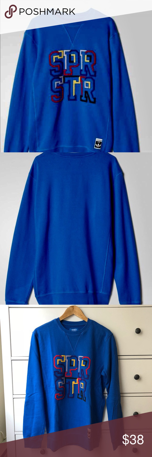 731a3706a7ae Adidas Superstar Sweatshirt Adidas Superstar sweatshirt( men) oversized for  women. Like new condition Color  Blue adidas Other
