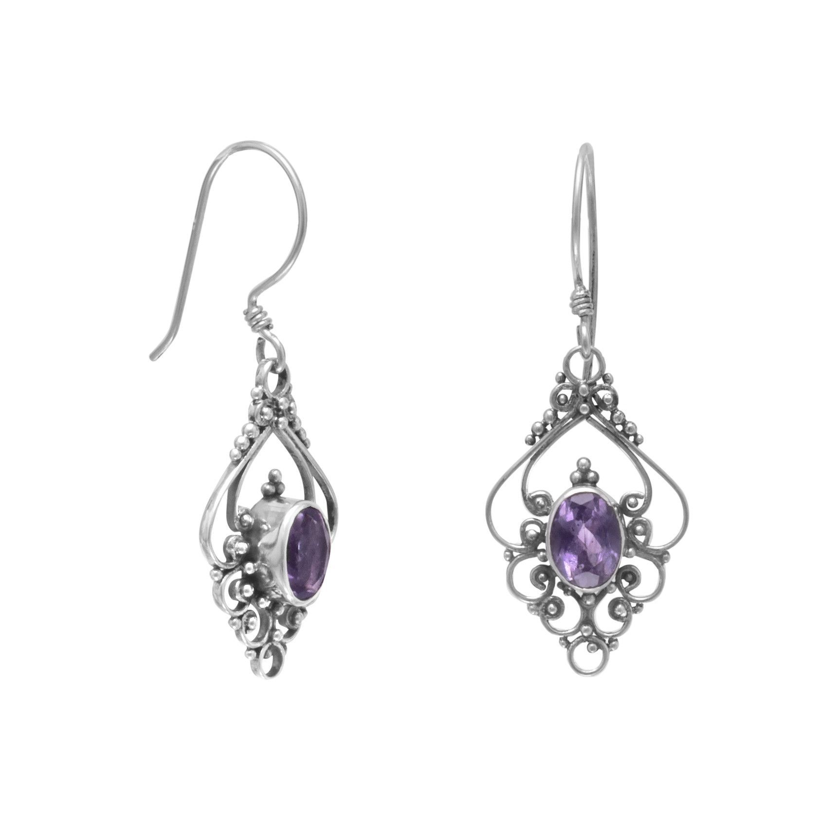 Sterling Silver Scroll Design Amethyst French Wire