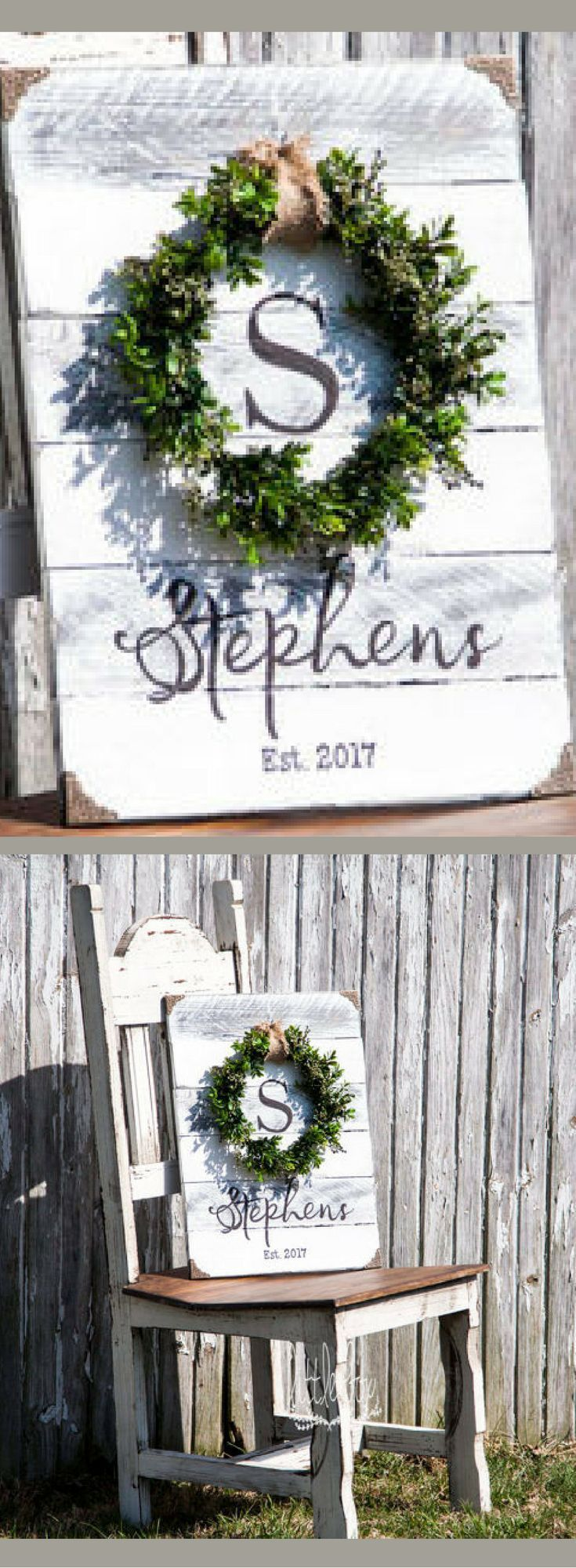 Boxwood Wreath with Monogram, Wreath Signs, Housewarming gift, Wedding  Shower gift, Initial Sign, Shiplap Sign, Shiplap decor, Farmhouse decor,  Far