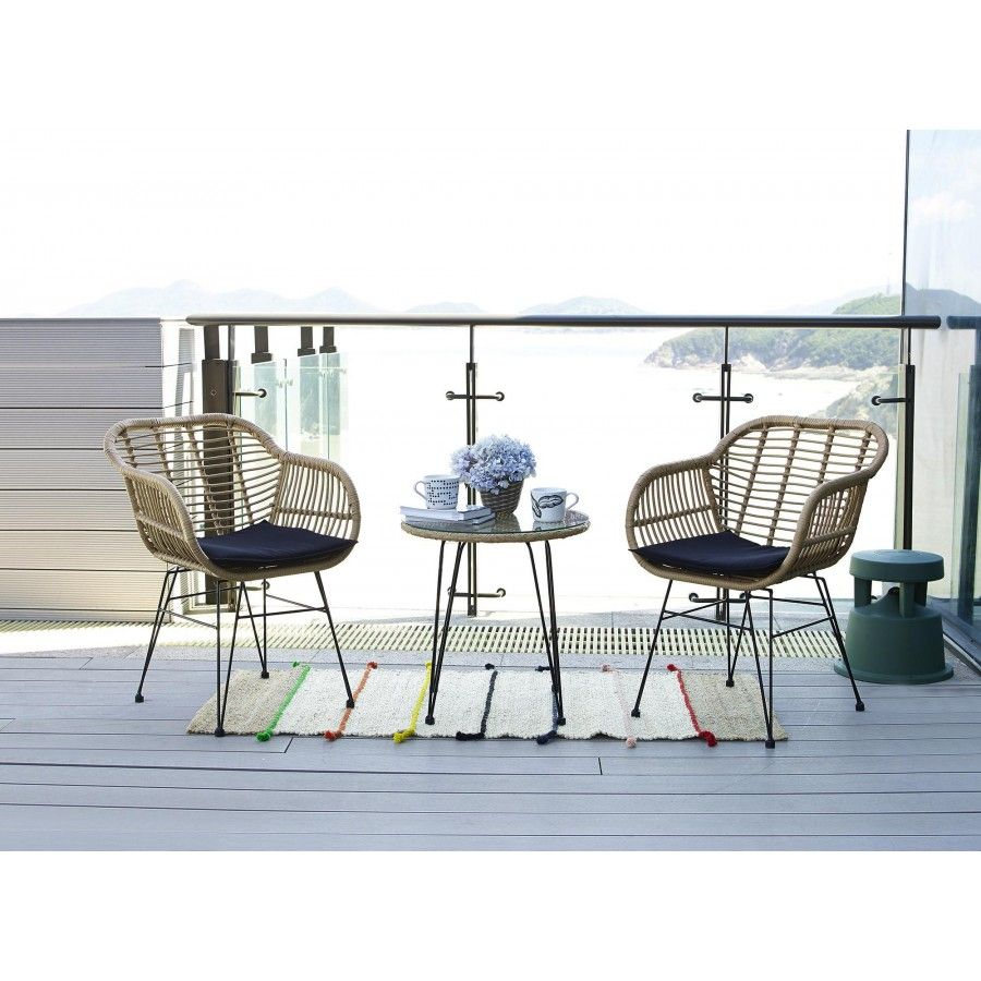 Polietilen Pe Jeklo Glass Top Side Table Bistro Set Outdoor Furniture