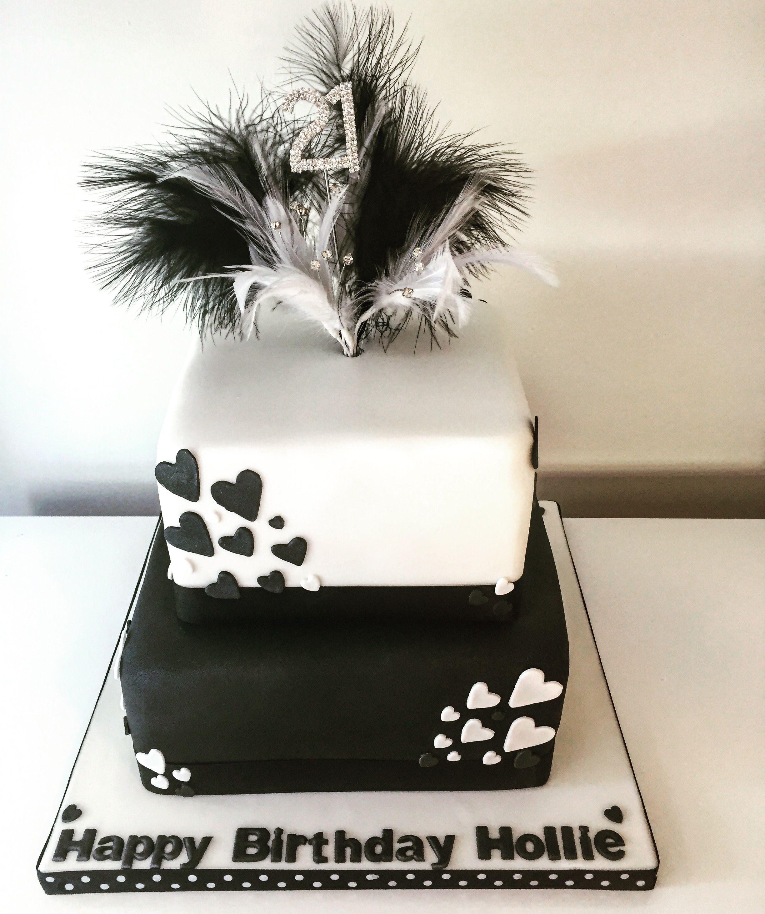 Two Tiered Square 21st Birthday Cake 21st Birthday Pinterest