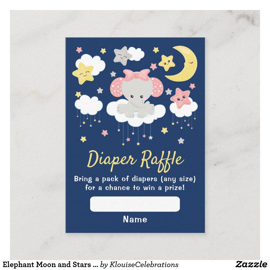 Elephant moon and stars baby diaper raffle pink enclosure