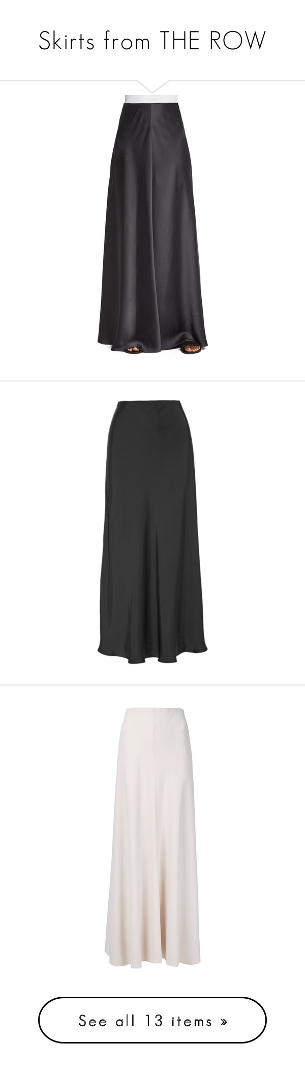 """""""Skirts from THE ROW"""" by fufuun ❤ liked on Polyvore featuring skirts, pewter, long skirts, ankle length skirt, ball skirts, floor length skirts, long a line skirt, anthracite, long elastic waist skirt and satin skirts"""