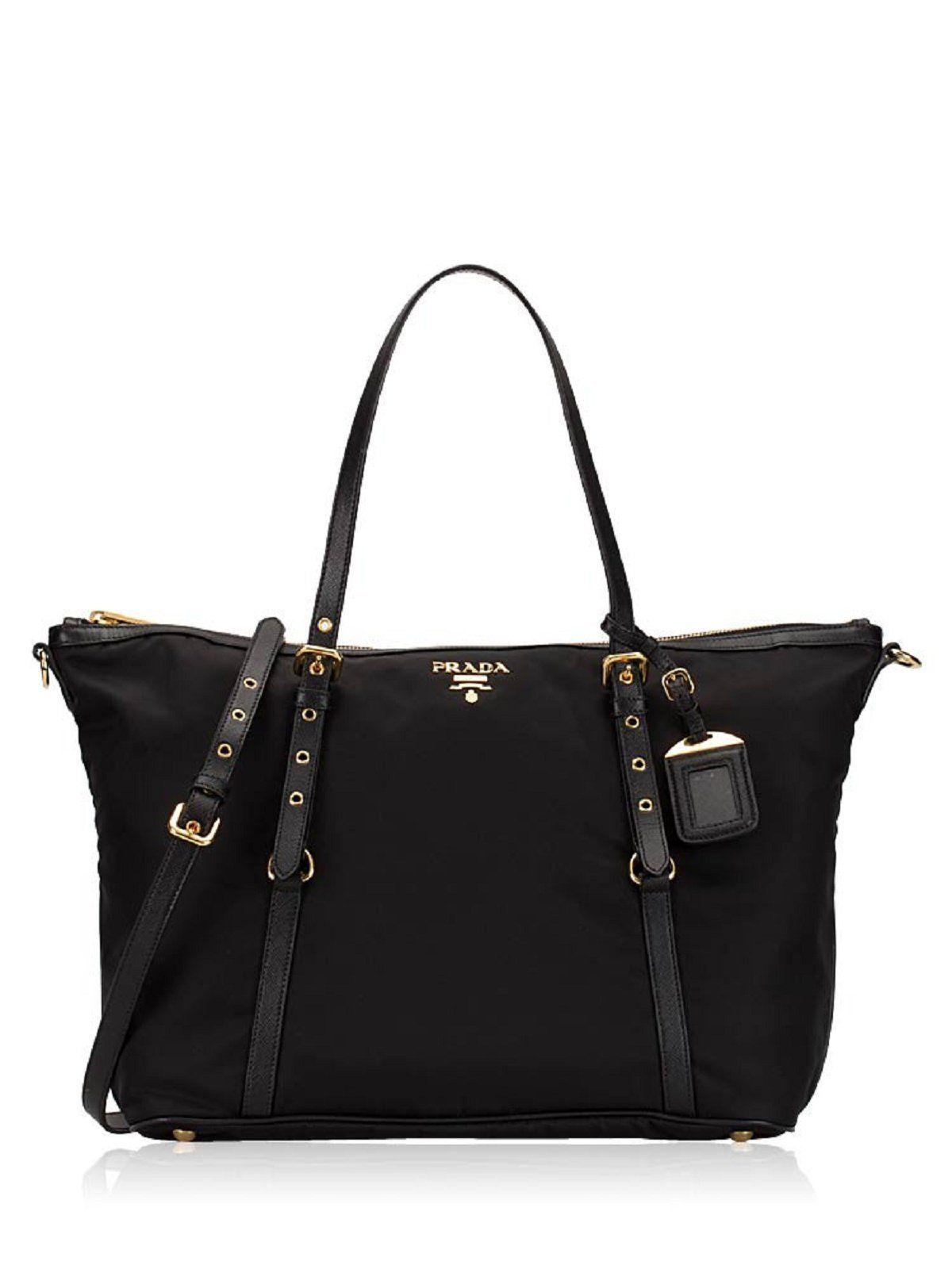 d1f041c74154d7 Prada Tessuto Black Nylon Leather Gold Hardware Shopping Tote Bag 1BG253