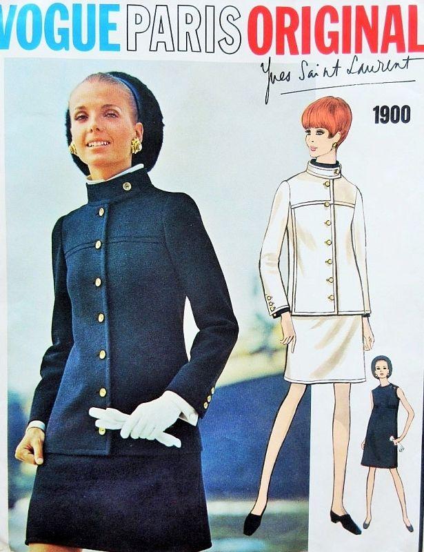 1960s MOD Yves Saint Laurent Dress and Jacket Pattern VOGUE PARIS Original 1900…