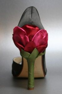 Black Satin Wedding Shoes with Shades of Pink Flower Heel - Design Your Pedestal - Custom Wedding Accessories