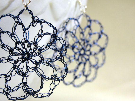 crocheted wire zinnia earrings