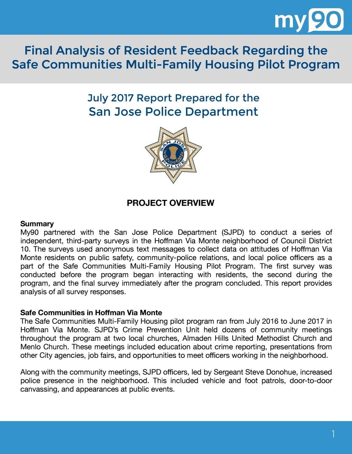 Resident Feedback Regarding the Safe Communities Hoffman