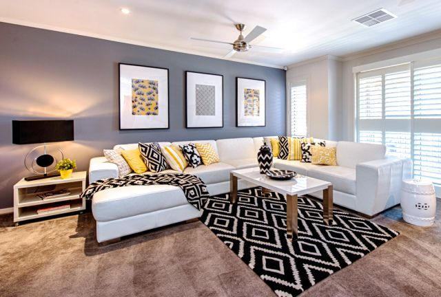 A Look At Cathy Elsmore S Black Yellow And White Living Room