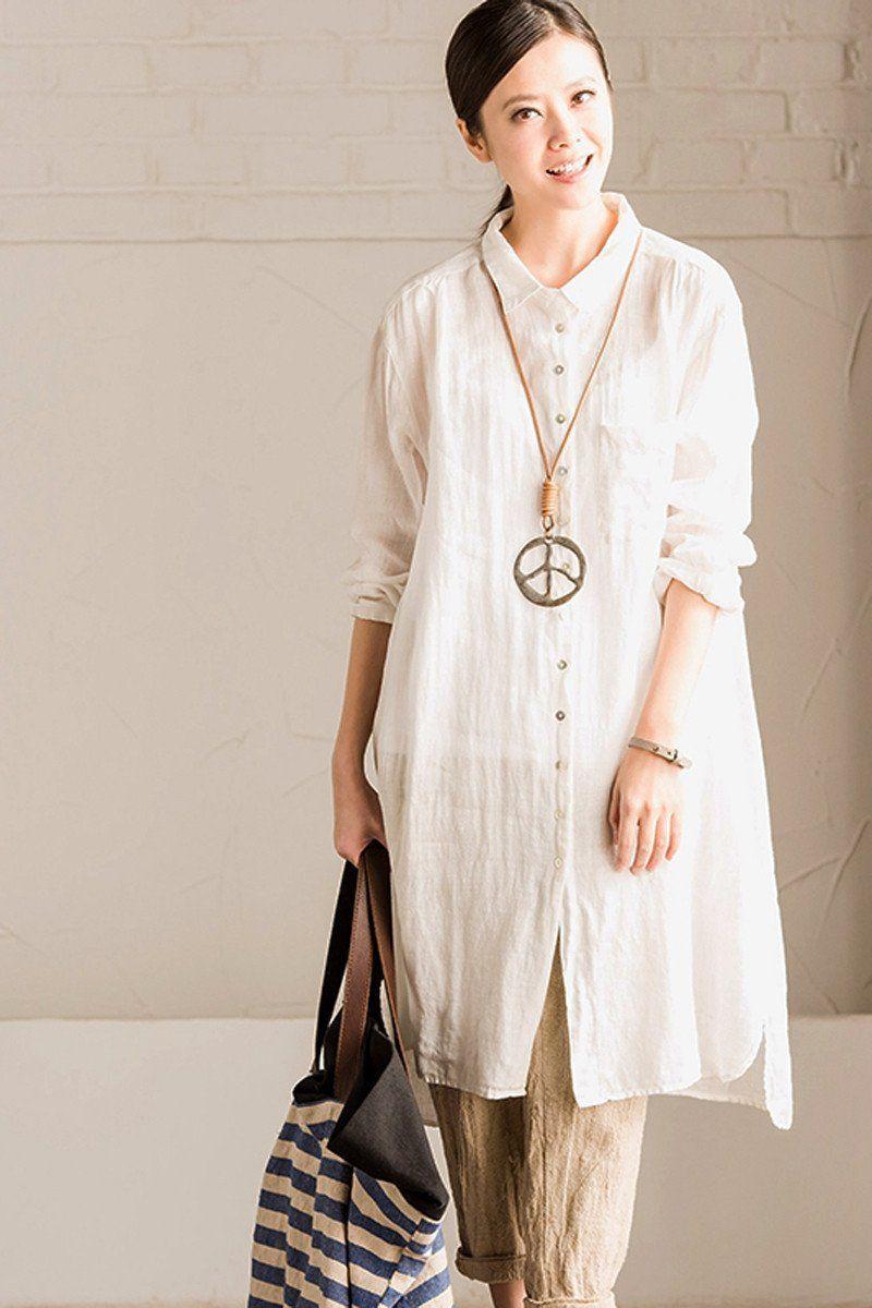 White and green linen shirt long dress blouse women clothes design