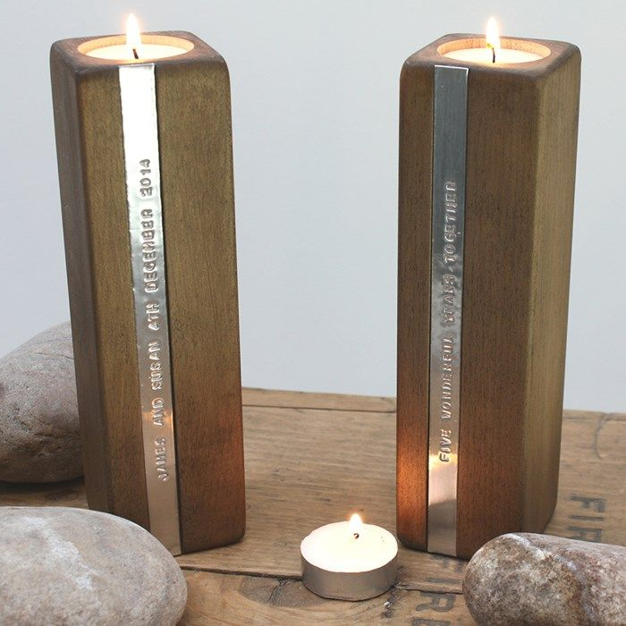 Personalised Set Of 2 Wooden Candle Holders Message In 2019