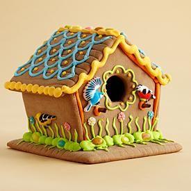 GINGERBREAD HOUSE~Summer Garden Gingerbread Bird House