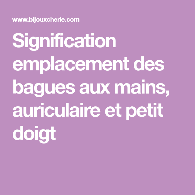 signification emplacement bague homme