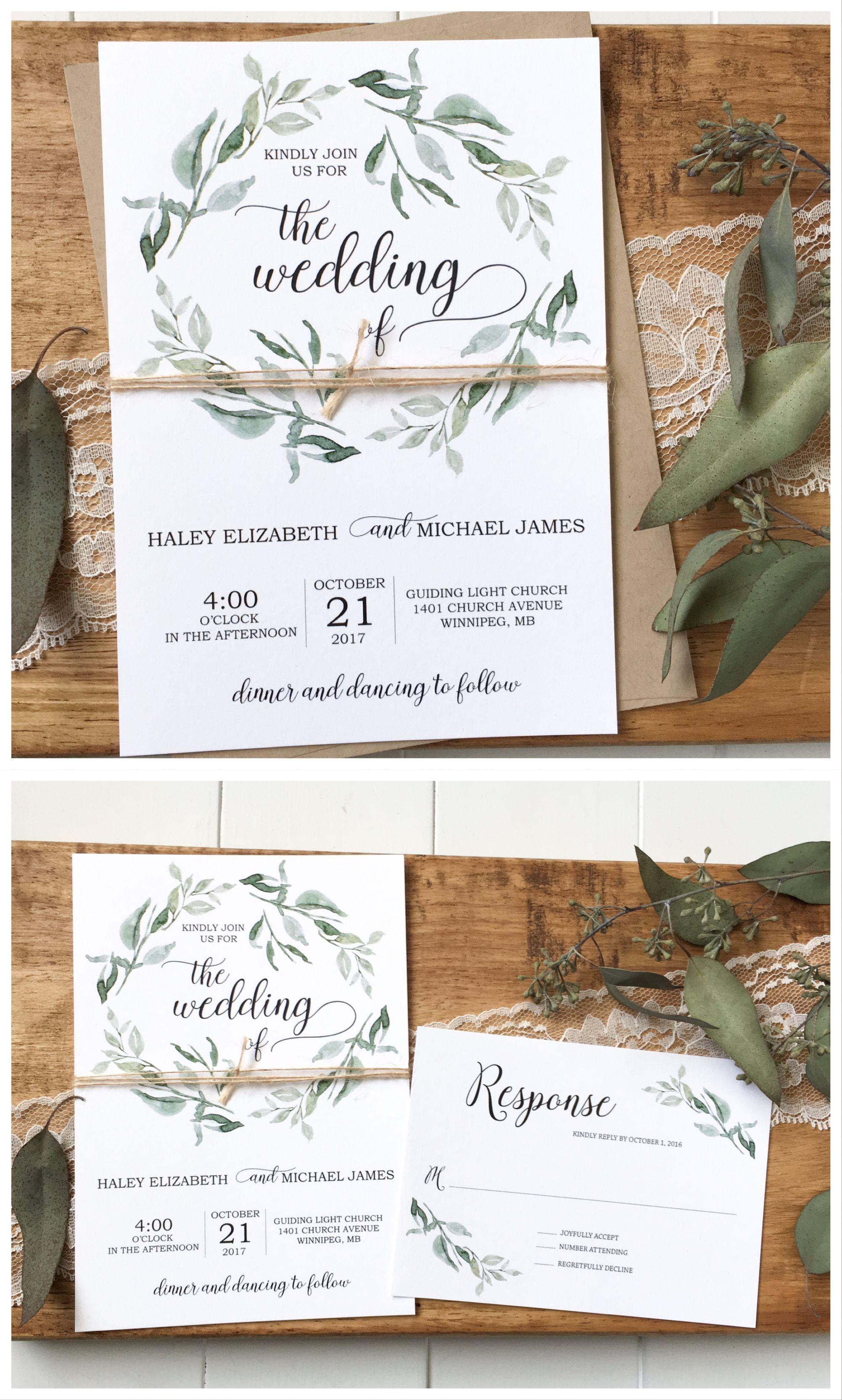 Green Wedding Invitation Greenery Wedding Rustic Wedding