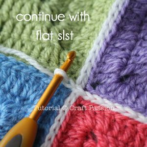 Joining granny squares with flat slip stitch