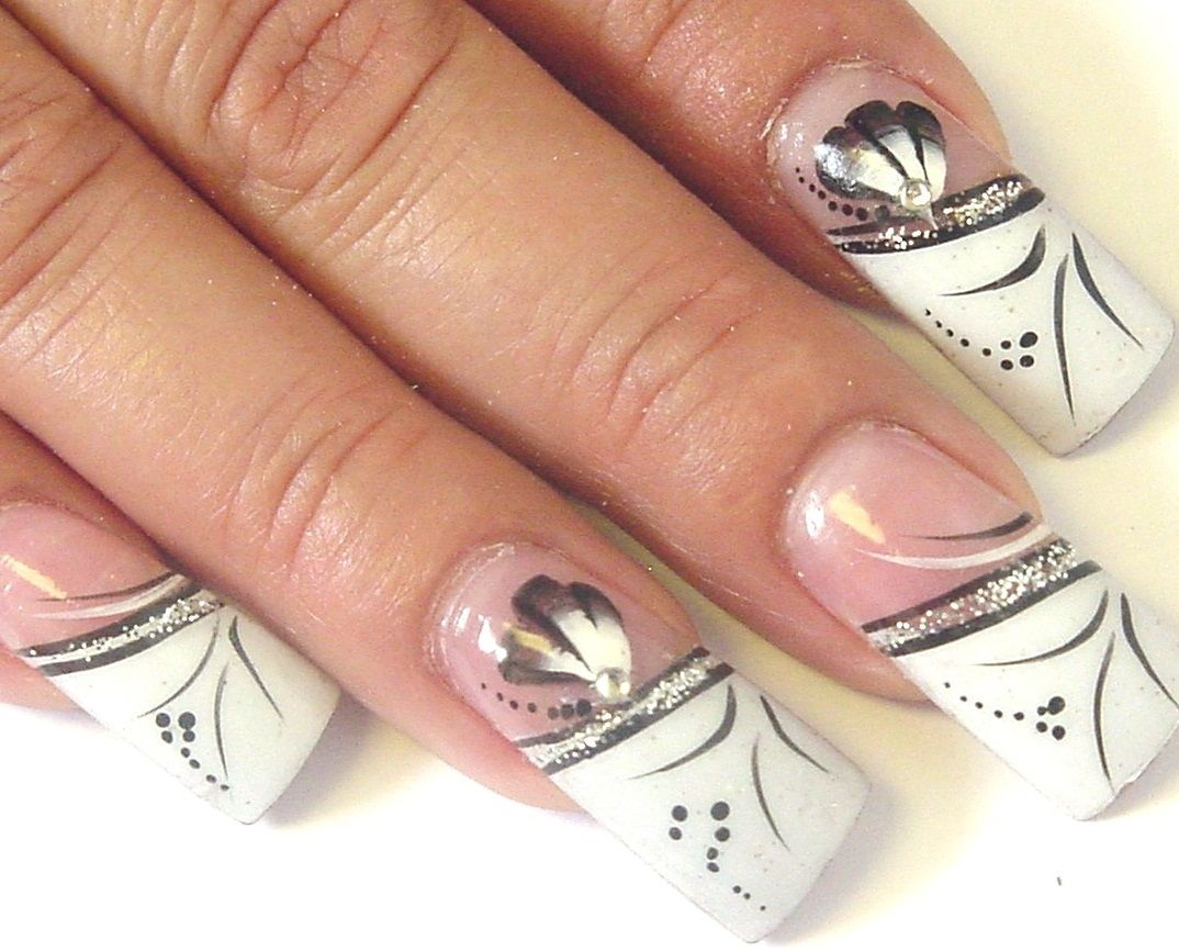 classy fake nail designs | Nails | Pinterest | White acrylic nails ...