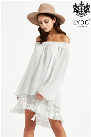 Boho Bare Shoulder Flare Dress, waiting to be teamed with some Wellies!