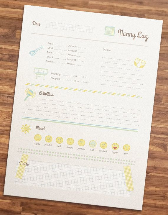 Nanny Log Printable Nanny Log  For Nannies    Logs