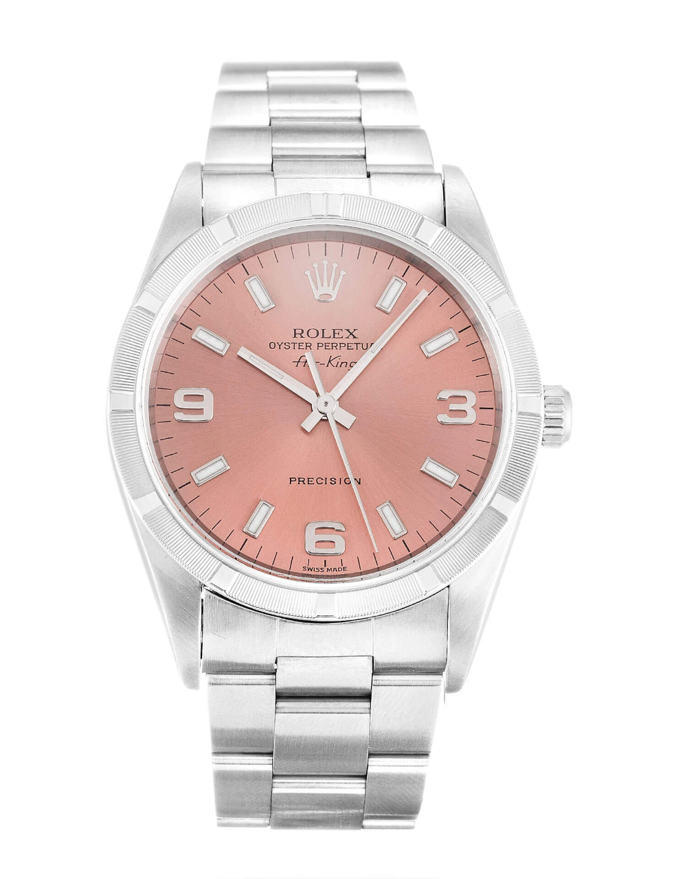 ROLEX AIRKING SALMON QUARTER ARABIC DIAL STAINLESS STEEL
