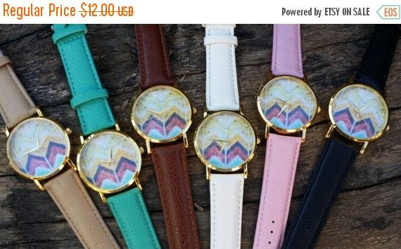 SALE Beige Chevron Watch, Unisex Watch, Aztec Print Watch, Colorful Watch, Beige Chevron watch, Aztec Watch, Unisex Watch, Gifts for her629