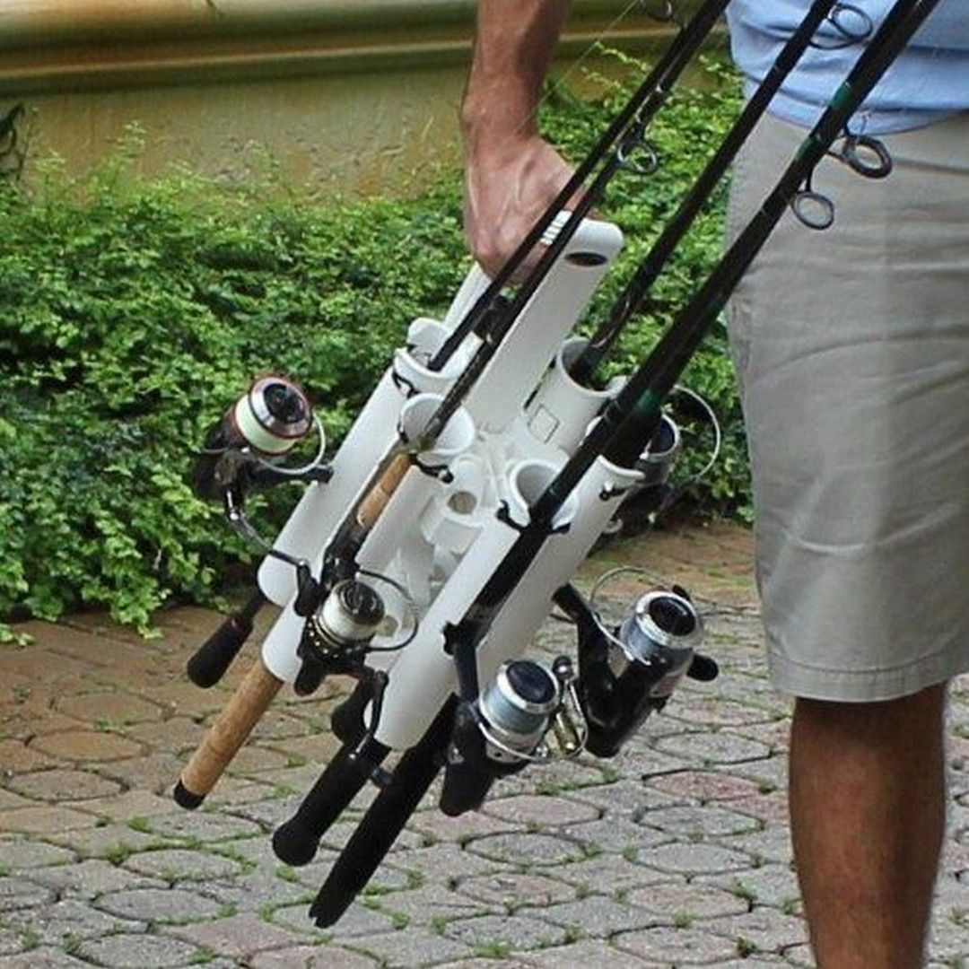 Diy Pvc Outdoor Fishing Rod Holder Vanchitecture Portable Fishing Rod Fishing Rod Fishing Rod Holder