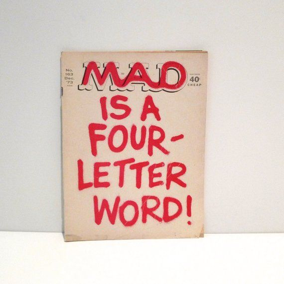 Mad Magazine No 163 Dec 73 Mad Is A Four Letter Word Vintage Comic
