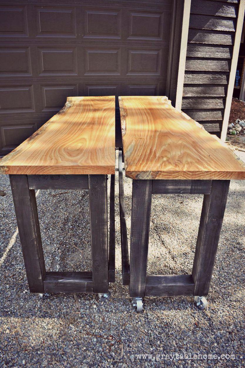 Diy Live Edge Oak Pub Tables Gray Table Home Bar Table