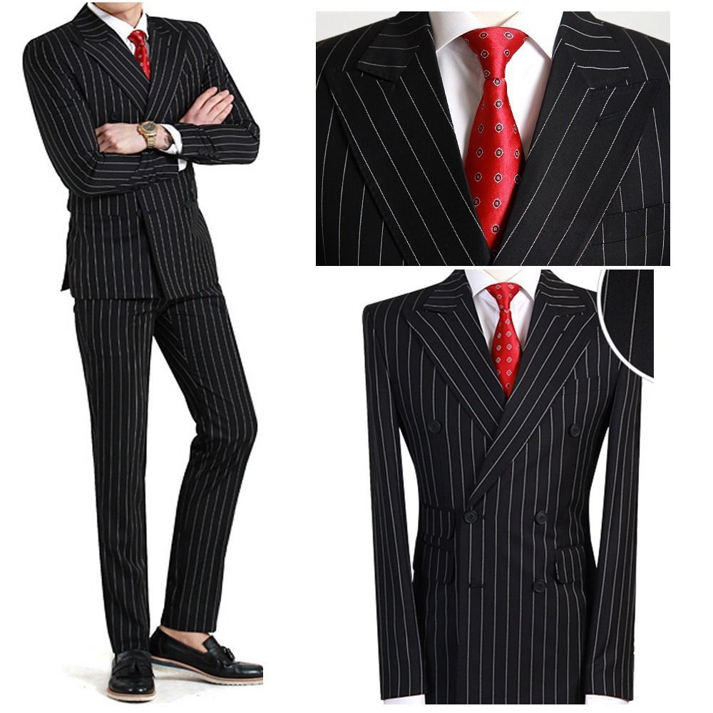 double breasted black striped Men s slim fit suits uk wedding ...