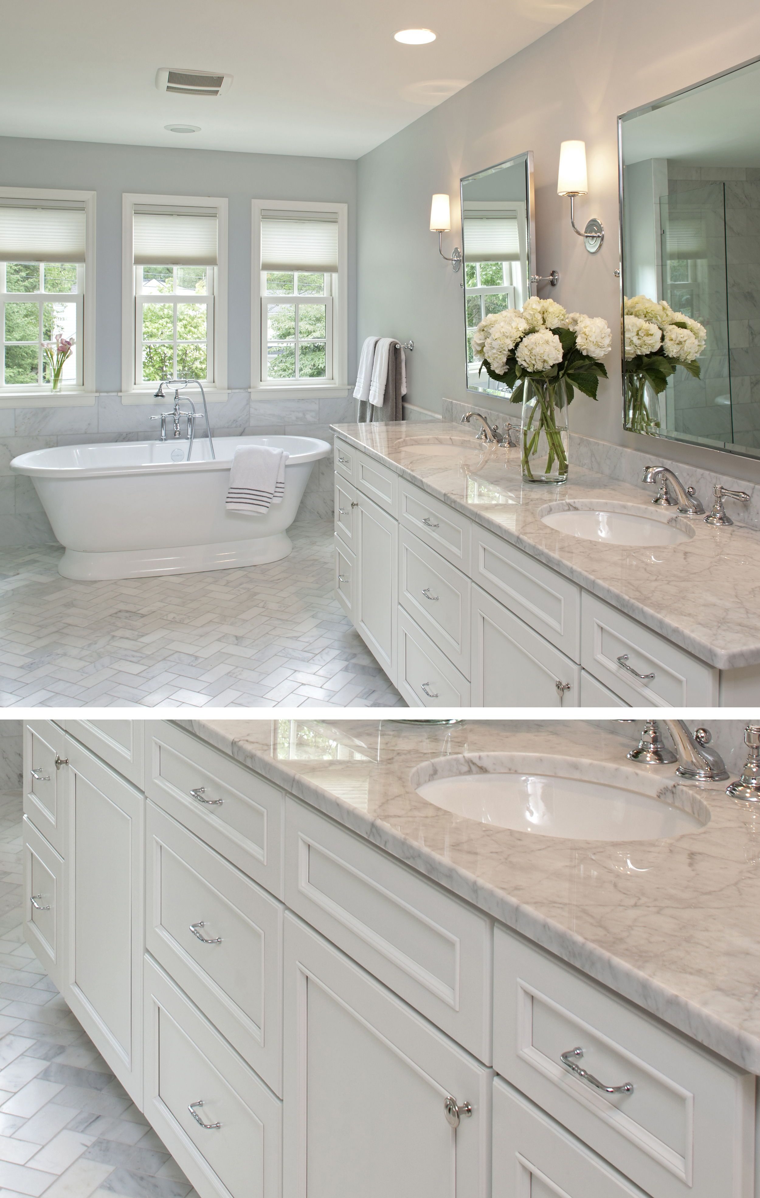 White on white masterbath design this new construction home by cre