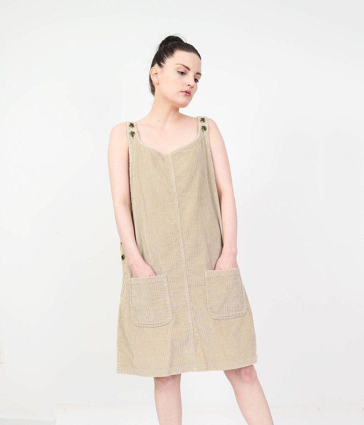 7aafcf28dea 90s Vintage Tan Corduroy Overall Dress from Shop Pom Pom Vintage