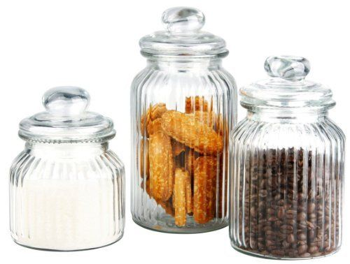 Airtight Cookie Jar 3 Piece Retro Airtight Ribbed Glass Classic Cookie Jarsluzy's