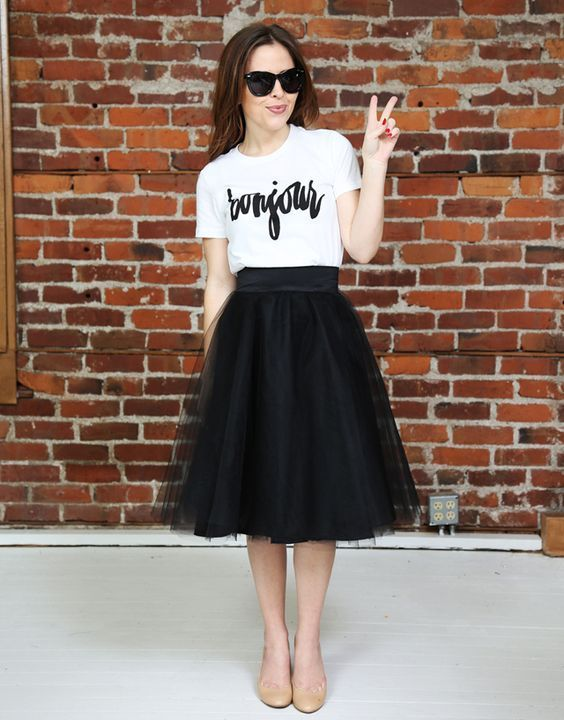 3770b96f99 @roressclothes closet ideas #women fashion outfit #clothing style apparel  white top, black skirt