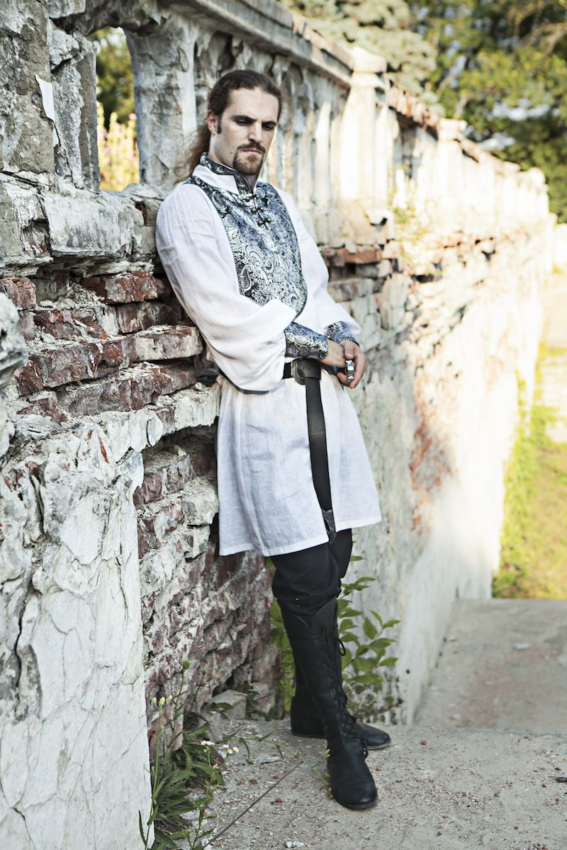 Wedding Meval Mens Tunic With Brocade Accents By Armstreet