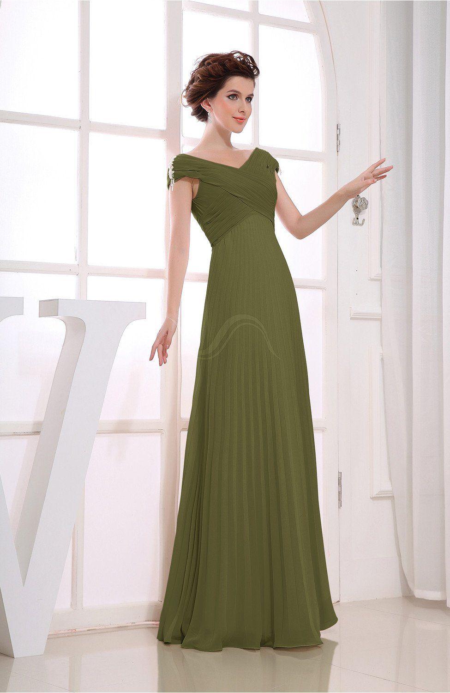 18a2b0d02086 Olive Green Bridesmaid Dress - Vintage Empire Short Sleeve Zipper Chiffon  Floor Length Long