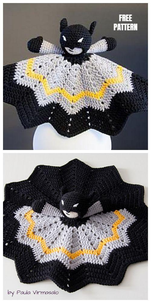 Crochet Batman Baby Lovey Blanket Free Crochet Patterns