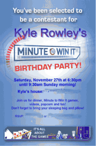 Great Year Old Boy Birthday Idea Cminute To Win It Party Also Best Images