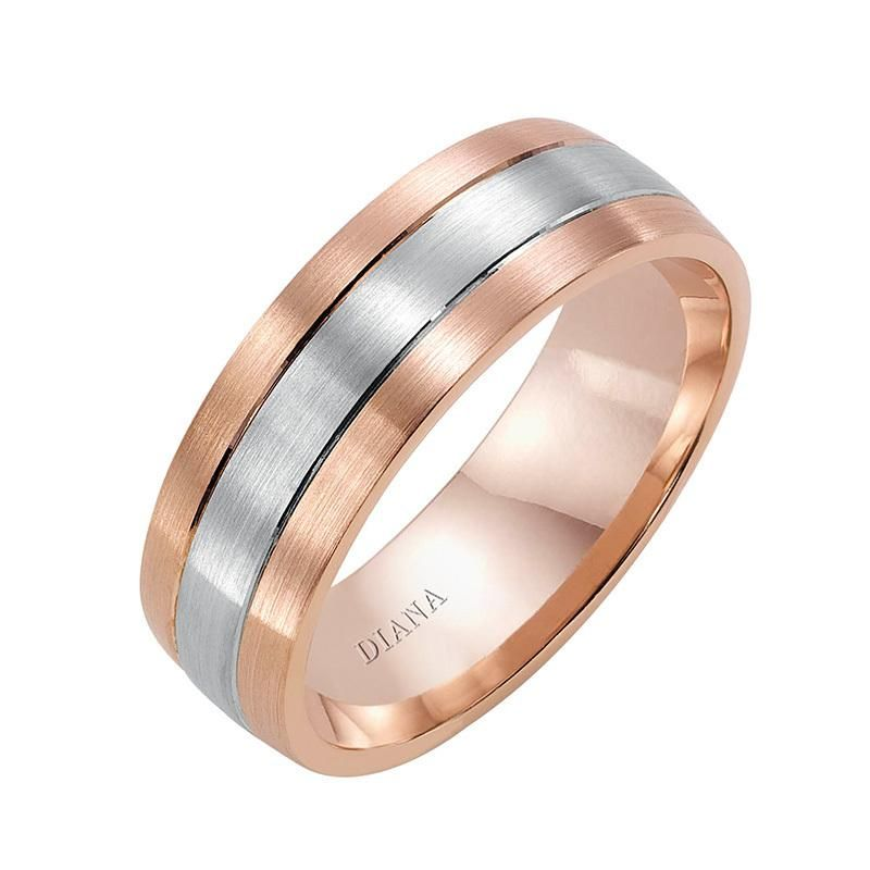 Diana Men S 7mm Rose And White Gold Satin Finish Comfort Fit