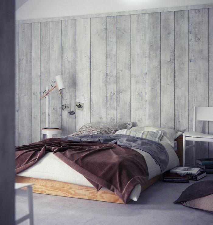 Schlafzimmer-inspiration-holzoptik-wandgestaltung-wand-holzoptik ... Schlafzimmer Tapeten