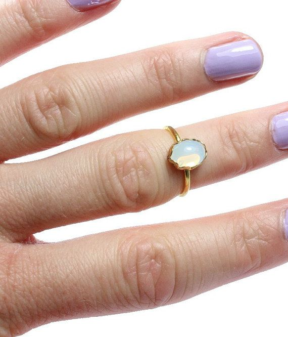 Opal moonstone knuckle ring
