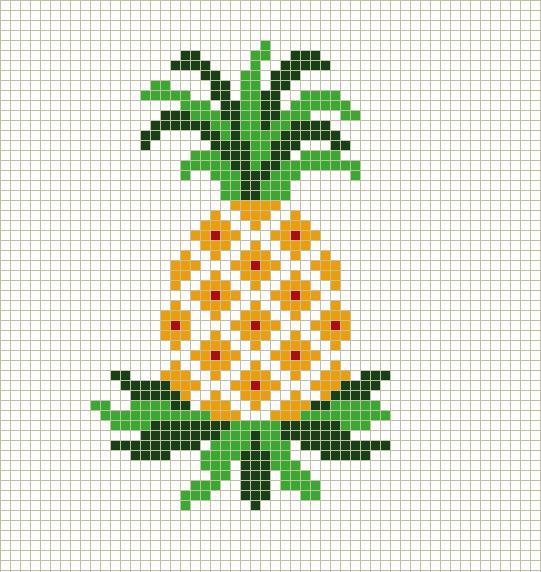 Piña, punto Cruz | Costurero | Pinterest | Punto de cruz, Punto y ...