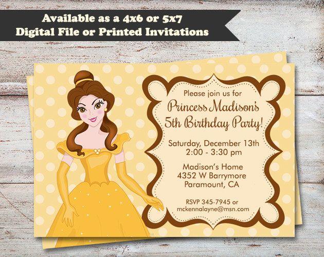 Princess Belle Birthday Party Invitations Beuty and The Beast – Digital Birthday Party Invitations