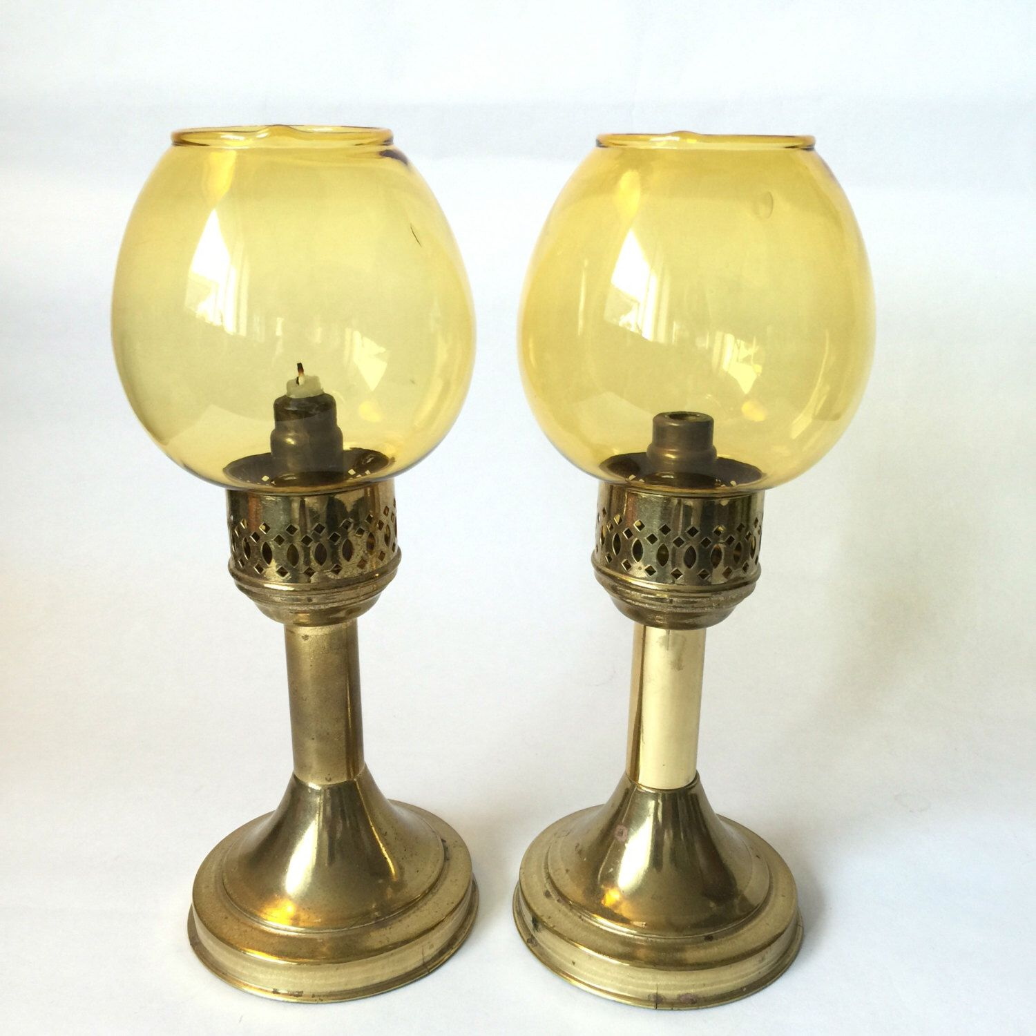 Candle Lamps With Amber Glass Shades, Brass Candlesticks, Candle ...